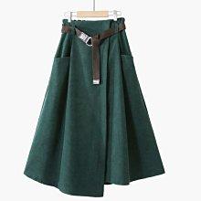 【An Ju Shop】韓國風 時尚簡約純色腰帶條絨口袋不規則工裝顯瘦A字裙傘裙半身裙子~OI123009