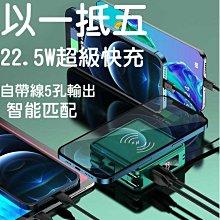 22.5W超級快充行動電源 帶無線帶線行動電源 多合一行動電源15000毫安 五合一
