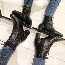 轉賣 jolly jolly boutique 方頭軟皮革側拉鏈綁帶軍靴 goldfish bowwow korea 蜜朵 kashin Zara 小穎