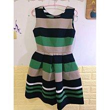 時尚條紋太空棉洋裝/澎裙