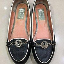 八成新專櫃真品~LeBunny Bleu舒適真皮黑色滾白邊圓頭平底包鞋/娃娃鞋(SIZE:8)台北市/新店區可面交