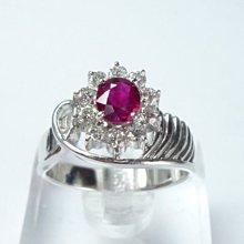【連漢精品交流中心】《天然紅寶石 0.52CT 》14白K金設計款奢華 紅寶石鑽戒 (女戒)