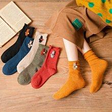 Maisobo 韓 秋冬 10%羊毛 可愛小兔裝飾捲邊百搭中統襪 襪子 6色  TA-283 預購