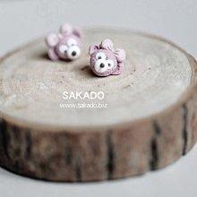925純銀耳環-阪堂SAKADO-軟陶+純銀系列--東京海洋迪士尼游園必備攻略---Duffy達菲熊-B(也有耳夾款)