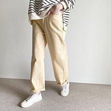 girlmonster 正韓 後腰鬆緊帶合身休閒褲(黃/奶油/米色/黑色)【A0682】