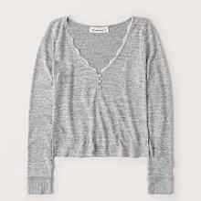 Maple麋鹿小舖 Abercrombie&Fitch * A&F 灰色V領蕾絲滾邊長袖上衣/睡衣* ( 現貨M號 )