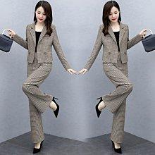 單/套裝 春季新款韓版套褲時尚氣質洋氣格子闊腿褲兩件套裝女