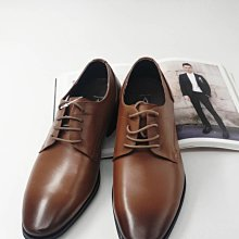 ♂️男:簡約素面紳士休閒德比鞋(咖)、德比鞋、繫帶皮鞋、全牛皮氣墊皮鞋
