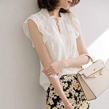 *Angel  Dance*雪紡短袖上衣(白色)@日韓款 法式 甜美氣質 OL 立領 飛飛袖 木耳邊 白襯衫@現貨+預購