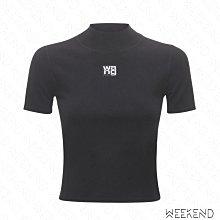 【WEEKEND】 ALEXANDER WANG Logo 合身 短版 上衣 T恤 黑色
