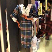 【2A Two】首爾連線復古格紋⌒蕾絲花邊毛呢洋裝 長袖連身裙『BB0026』