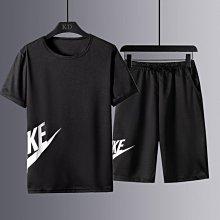 男士運動套裝夏季新款潮流冰絲短袖短褲兩件套跑步休閑運動服