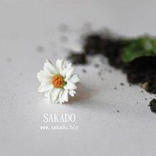925純銀耳環-阪堂SAKADO-軟陶+純銀系列- 我就要你好好的--克拉克同款雛菊純銀耳釘