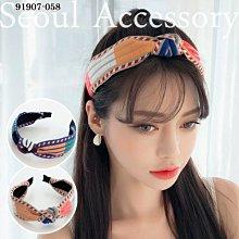 首爾飾集 正韓國製 官網款 色彩刺繡條紋扭結髮圈髮箍91907-058