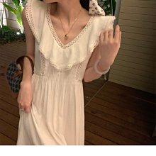 精緻文藝大荷葉領口棉麻洋裝