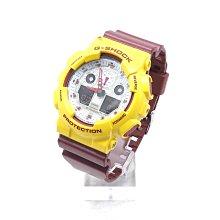 【台中青蘋果】Casio GA-100CS 黃 磚紅色 騎士隊配色 二手 手錶 #52280