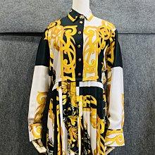 【哈極品】未使用品《VERSACE 凡賽斯 黑白 黃色花紋 長袖連身洋裝 36號》