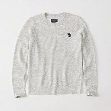 Maple麋鹿小舖 Abercrombie&Fitch * AF 淺灰色麋鹿LOGO長袖羊毛衣*( 現貨S號 )