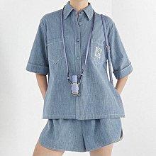 【妖妖代購】Fendi 21春夏新款FF刺繡牛仔短袖襯衫/短褲/闊腿長褲