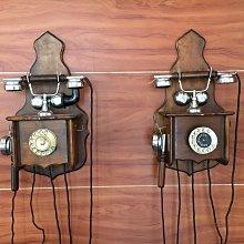 直購品 *內壺春角落光陰* Antike Holz Wandtelefon 霍爾茲德國古董木柄牆上轉盤電話(2支一起賣)