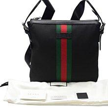 全新 Gucci 387111 黑色帆布郵差包
