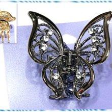 ☆POLLY媽☆歐美日claire's鑲嵌水鑽雕花鏤空蝴蝶(5.5×6cm)金色、黑銅色金屬抓夾