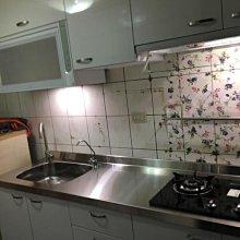 名雅歐化廚具215公分不鏽鋼檯面+下櫃ST桶身+上櫃F1木心板桶身+四面封美耐門板+櫻花三機