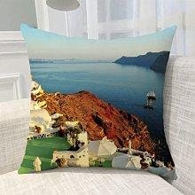 《獨家預購》歐洲風景抱枕定制 聖托里尼島超柔舒適抱枕靠墊 來圖客製化家用聖托里尼島 可來圖訂做 生日禮物bz1826
