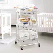 收納 置物架 嬰兒用品置物架小推車落地多層移動新生兒寶寶臥室廚房儲物收納層架-搞機數碼3C