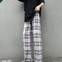 格子闊腿褲女褲夏季薄款寬松直筒高腰垂感ins潮鹽系顯瘦休閑長褲-NIJIANG小妮醬