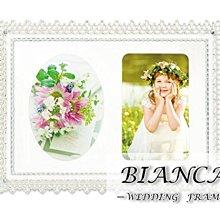 日本KISHIMA BIANCA蕾絲邊角雙鑽 5X7金屬結婚相框 /KP-31342/ LADONNA婚禮.結婚佈置