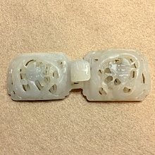 【小小的】~ 早期 二十世紀 ~ 白玉 雙龍紋 玉帶扣