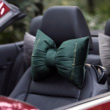 MOK 進口絲絨燙金蝴蝶結造型汽車護頸靠枕 墨綠/灰色 2色