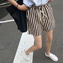 Black Market 夏季新品實拍 條紋中高腰鬆緊綁帶直筒顯瘦棉質短褲 (預購)
