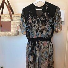 設計師專櫃精品 100%蠶絲印花洋裝 L號 全長內裡 包布釦 優雅氣質