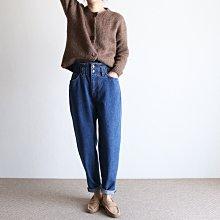 girlmonster 正韓 皺褶高腰 保暖鬆緊帶牛仔褲 (藍色/黑色) 【A0641】