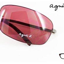 【My Eyes 瞳言瞳語】法國agnes b.細邊彈性太陽眼鏡 搭配西服領帶