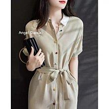 *Angel  Dance*短袖洋裝(2色)@韓國 復古 襯衫裙 polo領 單排扣 雪紡+棉 繫帶 大尺碼@現貨+預購