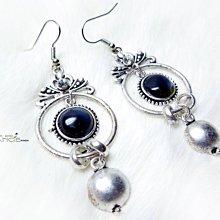 Change Fashion【歐美】英國設計波希米亞古銀鑲鑽黑灰天然石墜飾復古耳環-532514-UK129