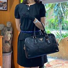 美麗堡OUTLET精品 ☆PRADA BL0787 皮革 鎖頭 波斯頓包 手提包附斜背帶 黑色 【現貨】