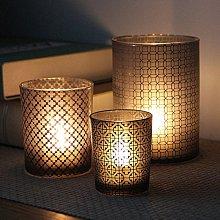 熱銷#簡約黑色中式圖案直杯玻璃燭臺浪漫燭光晚餐酒吧聚會添氣氛送蠟燭#燭臺#裝飾
