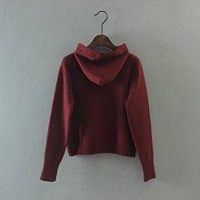 新年系列~全新Zara同款連帽寶石飄帶酒紅短版針織上衣