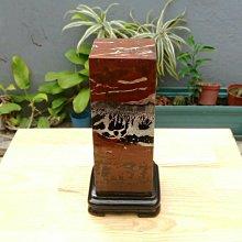天然山水紋紅海草花年糕玉方形擺件/附實木底座,風水財位擺飾,居家藝術擺飾,便宜出清1688元,重約1630公克
