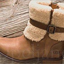 美國購入真品 UGG 棕色真皮 個性短靴 雪靴 馬丁靴 厚底 賞雪保暖 鋪毛附鞋盒7.5號 24.5號 愛COACH包包