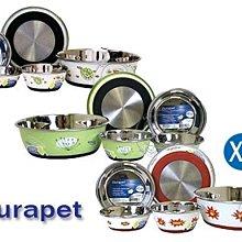 【🐱🐶培菓寵物48H出貨🐰🐹】OurPets 》 絢麗不銹鋼防滑食碗(XL) 5種圖案 特價420元