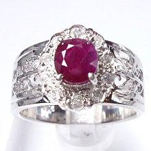 【連漢精品交流中心】《天然紅寶石 1.28CT 》14白K金設計款奢華 紅寶石鑽戒 (女戒)~