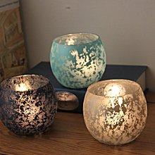 熱銷#歐式彩色斑駁月影玻璃圓球燭臺浪漫表白燭光晚餐裝飾擺設送電子蠟#燭臺#裝飾