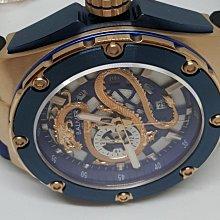 【成吉思汗精品】BALMER賓馬龍王玫瑰金框藍色鱗狀橡皮錶帶藍寶石鏡面型號:8122