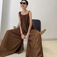 Black Market 夏季實拍 復古經典格紋傭懶寬鬆連身寬褲 (預購)