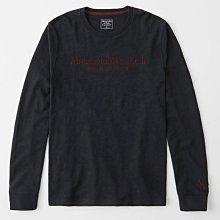 Maple麋鹿小舖 Abercrombie&Fitch * AF 深藍色電繡字母長T * ( 現貨L號 )